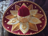 red, white, and gold floral silk thread hat