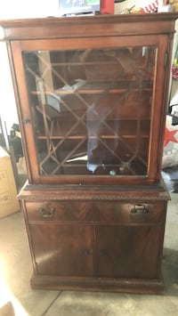 brown wooden framed glass display cabinet Warsaw, 46582