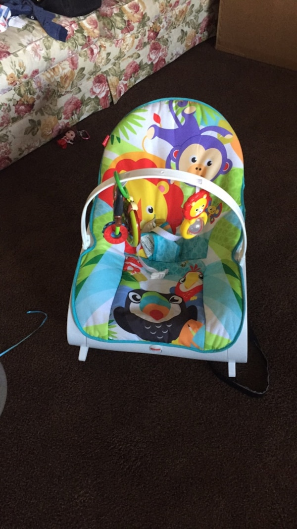 baby's green and multicolored bouncer
