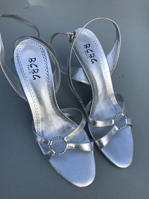 5809d4be584 Used Silver BCBG open-toe ankle-strap heeled sandals for sale in Point  Pleasant - letgo