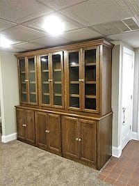 Hand Made 7 Piece Solid Oak Display Cabinet With 12 Adjustable Shelves  LAWRENCEVILLE
