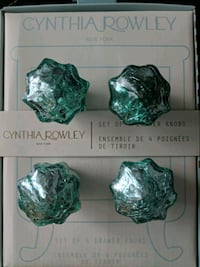 CYNTHIA ROWLEY / crackled teal glass door knobs