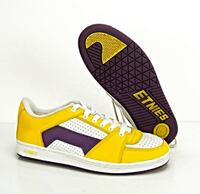 Etnies Men's Size 12 Senix Low Top Shoes Yellow Purple White Lo Leather Sneakers Chino Hills