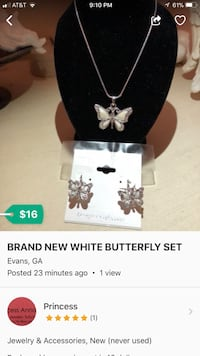 silver-colored butterfly pendant necklace advertisement screenshot Evans, 30809