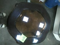 round dark cherry wood with glass-top side table Lancaster, 93536