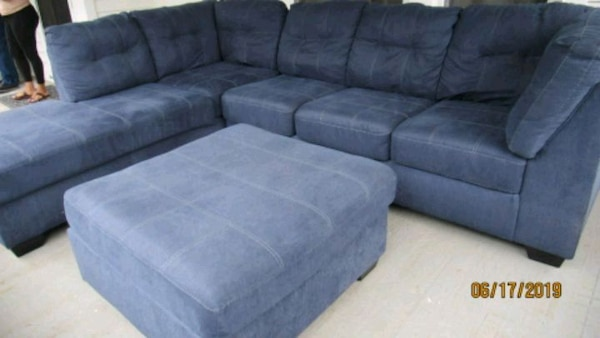Marvelous 9X7 Blue Sectional Couch With Ottoman Inzonedesignstudio Interior Chair Design Inzonedesignstudiocom