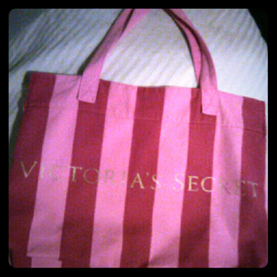 Victoria secret stripped tote bag/overnight duffle