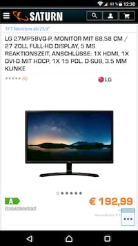 LG IPS Monitor Led - FullHD 5ms Reaktionszeit