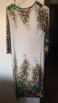 white and brown floral long-sleeved dress