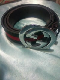 green, and red Gucci belt