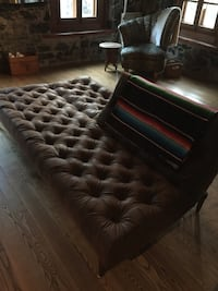 Tufted brown leather sofa bed  Brossard, J4W 2S4