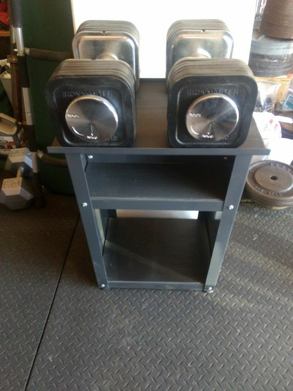 used ironmaster 5 75 lb adjustable dumbbells with stand for sale in