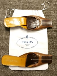 Prada Square Toe Brown Two-Tone Leather Mules, Sz  New York, 10018