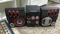 Black and red  stereo component