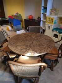 brown wooden framed brown padded chair Plainfield