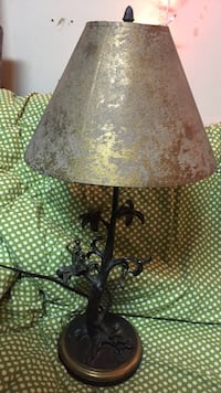 black steel base gold shade table lamp