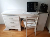 All white chic two unit dresser set with chair