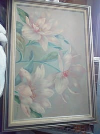 white and pink flower painting