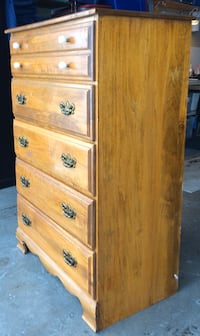 Solid Wood 5 Drawer Highboy Dresser Chest