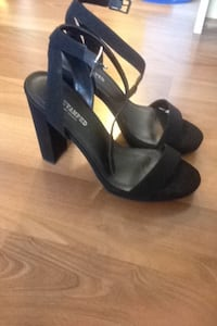 Pair of black open-toe ankle-strap heeled sandals Surrey, V3R 4Z3