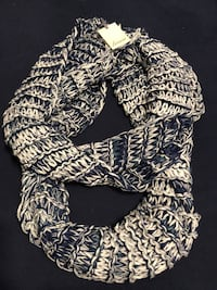 Blue & White Extra Long Infinity Scarf