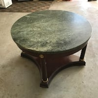 Green marble top Round brown wooden pedestal table $170 Milton, 02186