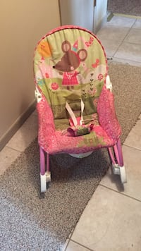 Toddler pink and green rocker napper
