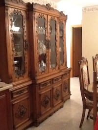 brown wooden framed glass display cabinet Montreal, H1S 1E4