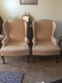 Two brown wooden framed beige padded armchairs Martinsburg, 25404
