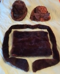 Real mink fur 2 hats belt scarf and hand muff purse Toronto, M3K 1Y3