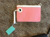 pink and white leather wristlet Charlotte, 28215
