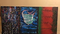 Three assorted abstract paintings