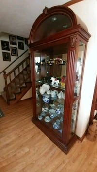 brown wooden framed glass display cabinet Virginia Beach, 23464
