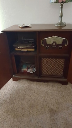 brown wooden console radio