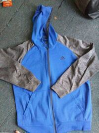 blue and gray zip-up hoodie