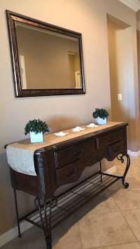 Brown wooden foyer table and mirror Wimauma, 33598