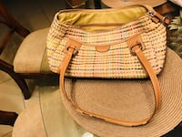 women's white, green, and brown tote bag