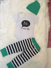 Toddler's white-and-green pants, shirt and knit cap set Calgary, T3P 1G8