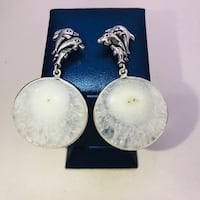 Natural white solar quartz dolphin embellished stones & .925 stamped sterling silver large round dangle earrings. NEW!  Carrollton, 75007