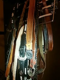 brown and black leather belts