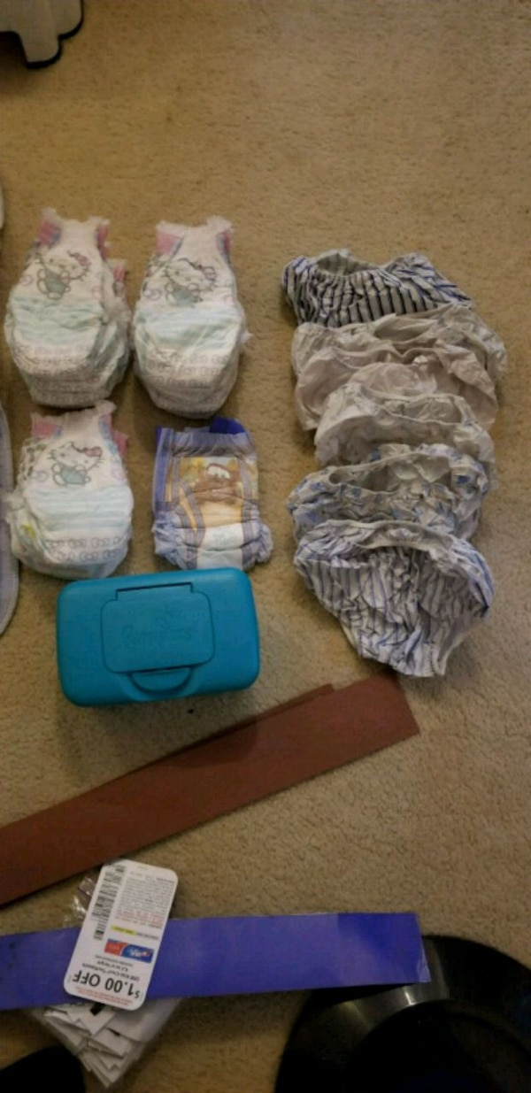 Girls diapers, wipes and more.