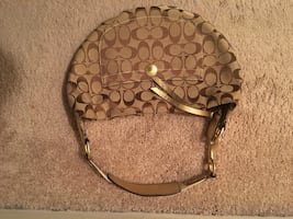 Brown monogram coach handbag