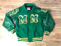Rare Authentic Letterman Bomber Varsity Jacket 90s leather and wool; made In USA Montréal, H2T 2Y3