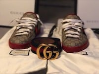 red and black Gucci leather belt with sneakers
