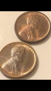 Two Rare Uncirculated 1909 VDB Wheat Pennies-- Brilliant Uncirculated Condition- First Year of Mintage- Shiny Red-Brown Colors! Reston, 20191