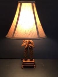 """Table Lamp: Wood Carved Palm Tree Lamp with Fabric Shade 17"""" Tall   Lansdowne"""