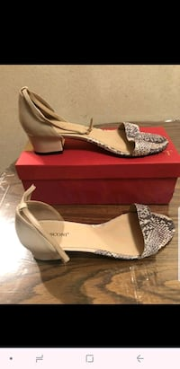 pair of gray open-toe ankle strap heels New York, 10065