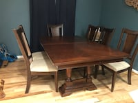 Rectangular brown wooden table with six chairs dining set Warrenton, 20187