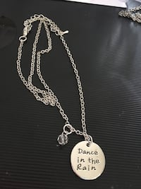 Hand stamped necklace with charm - Dance in the rain Port Coquitlam