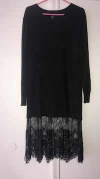 Forever 21 black short dress with lace trim